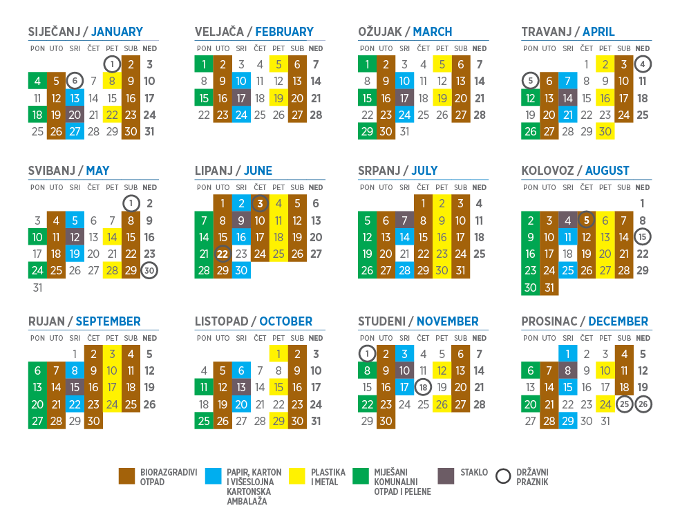 Kalendar odvoza otpada 2021. godina